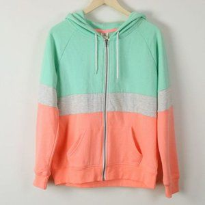 EUC Zine Colorblock Zip Front Hoodie Jacket - Sz L